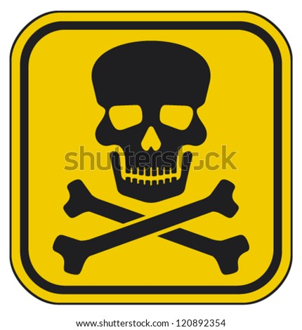 vector skull danger sign (deadly danger sign, warning sign, jolly roger sign, danger zone) - stock vector