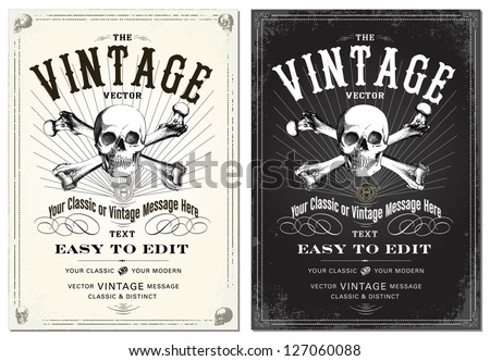 Vector Skull Frame Set. Easy to edit. All fonts are free fonts, easy to find. - stock vector