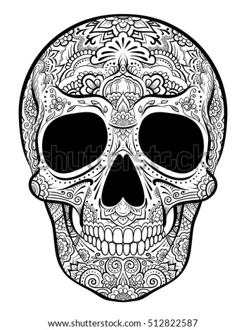 Vector skull graphics with floral ornaments.