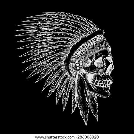 Vector skull of indian chief in hand drawing style. Feather tribal, skeleton western, cowboy and soldier - stock vector