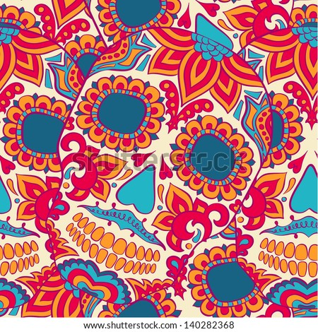 Vector skull seamless pattern - stock vector