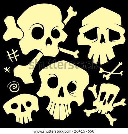 vector skulls set - stock vector