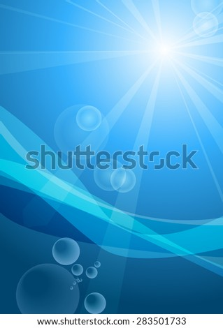 Vector : Sky beam and flare with underwater and bubble