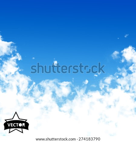 Vector sky. Blue sky with cloud closeup. - stock vector