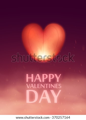 Vector sky lantern in the shape of a heart in the night sky. - stock vector