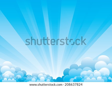 Vector sky with beautiful clouds and sun rays.