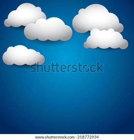 Vector sky with clouds background  - stock vector