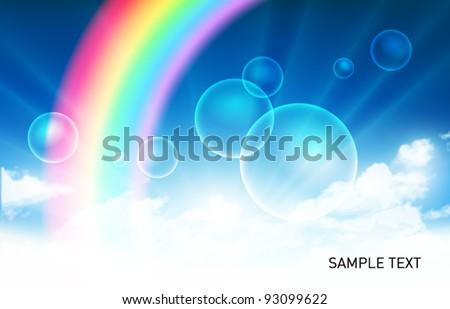Vector Sky with Rainbow Scene - stock vector