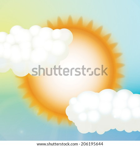 Vector Sky with sun and clouds - stock vector