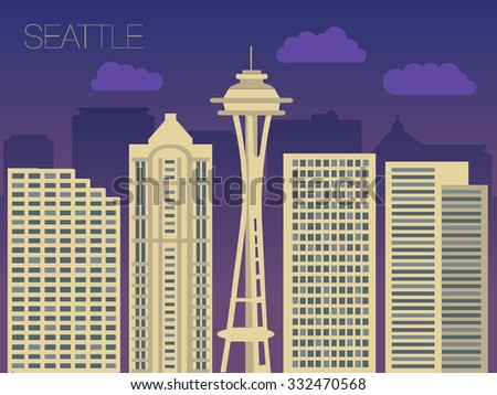 Vector skyline of famous buildings of Seattle. Colorful flat style panorama of the metropolis. Vector illustration of apartment blocks in a city at night. Panorama of night lights of Seattle.   - stock vector