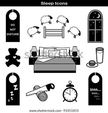 vector - Sleep Icons: Teddy bear, comfy bed, pillow, nightstand, lamp, night window, counting sheep, milk, cookies, door hangers: do not disturb, zzz, shh, saw log, alarm clock. EPS8 compatible. - stock vector