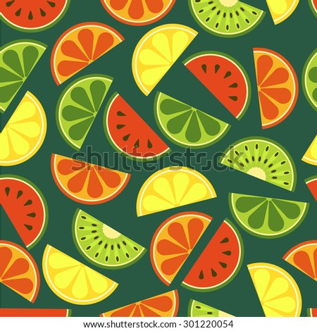 Vector sliced fruits seamless pattern. Fresh of watermelon, orange, kiwi, lime, lemon, grapefruit on green background. Abstract flat illustration design. Healthy and natural organic food.