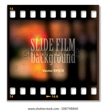 Vector slide film background with image of the sunset - stock vector