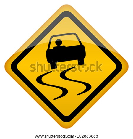 Vector slippery road sign, eps10 illustration - stock vector