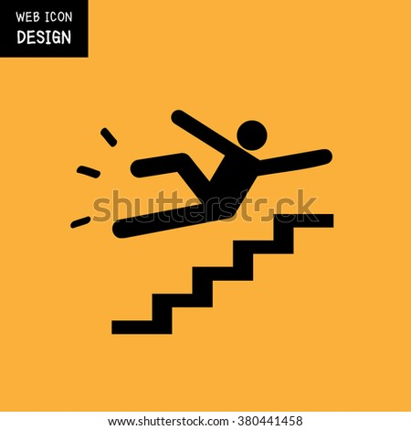Vector Slippery stairs warning sign illustration isolated on yellow background great for any use. - stock vector