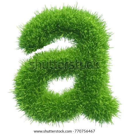 Vector small grass letter a on white background.