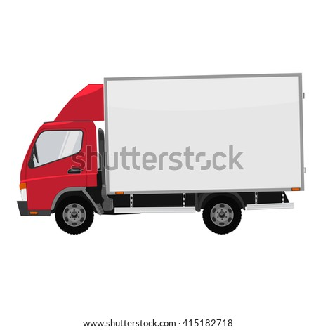 Vector small truck. Cargo delivery. Solid and Flat color  design. Truck car for transportation. Mock up for corporate identity. - stock vector