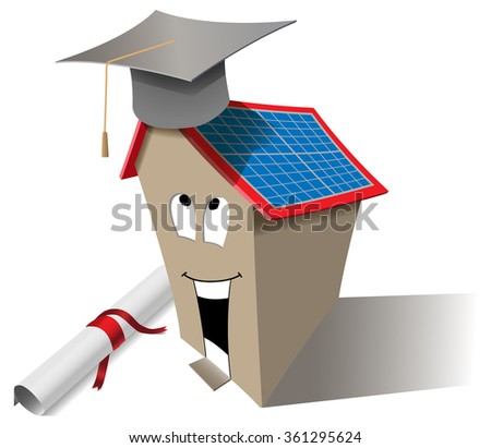 Vector Smart House Concept With Graduation Cap and Diploma, Eps10 Vector, Transparency Used - stock vector