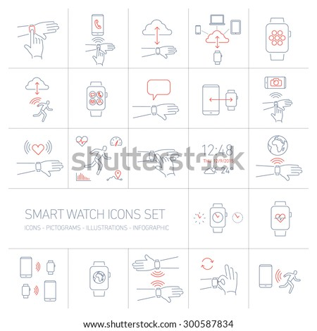 Vector smart watch linear icons set with hand gestures and pictograms | flat design thin line blue and red modern illustration and infographic isolated on white background - stock vector