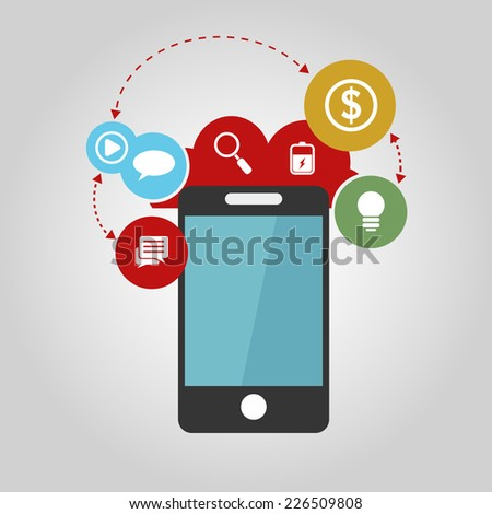 vector smartphone device concept with applications (app) icons in flat design - stock vector