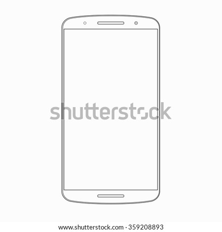Vector Smartphone Outline Template Wireframe Contour Stock Vector