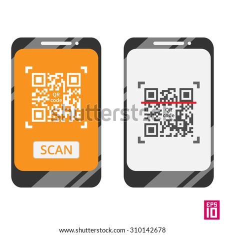 Vector smartphone scan QR code template. Elements grouped in different layers for convenient editing.  - stock vector