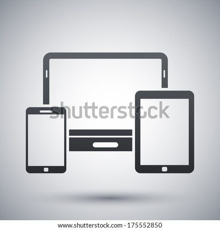 Vector smartphone, tablet and laptop icon - stock vector