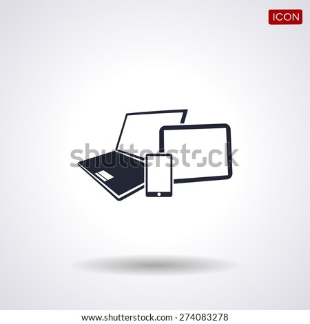 Vector smartphone, tablet and laptop icon . Vector  Eps 10  - stock vector