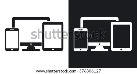 Vector smartphone, tablet and PC icon. Two-tone version on black and white background