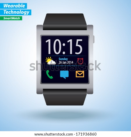 Vector Smartwatch - Wearable Technology - stock vector