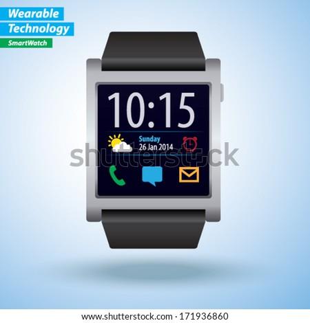 Vector Smartwatch - Wearable Technology - stock vector