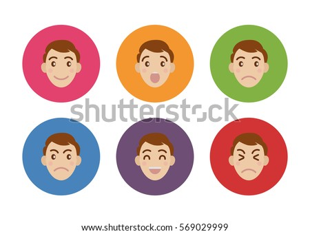 vector smiley character cartoon face man boy flat icon template avatar emoji