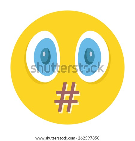 Vector smiley. Moderation, censorship or swear words concept. Isolated on white background. - stock vector