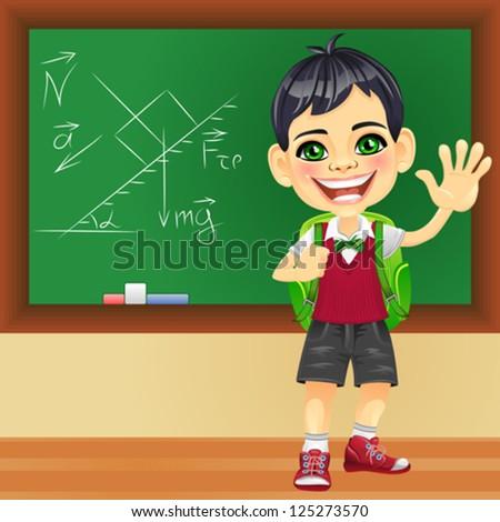 Vector smiling happy boy in a school uniform with a school backpack near blackboard - stock vector
