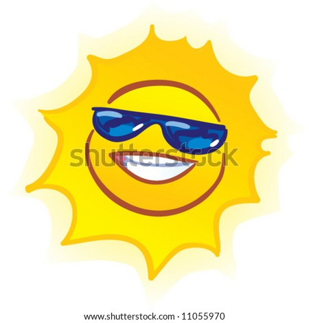 vector smiling sun - stock vector