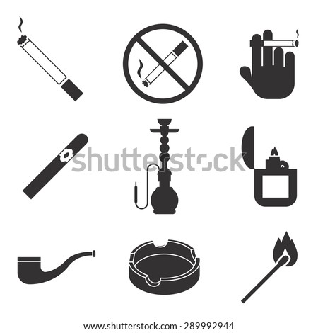 Vector smoking icons set. Cigarette and tobacco, lighter gasoline, cigar and nicotine, pipe and hookah - stock vector