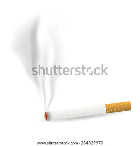 Vector Smoking Single Cigarette Isolated on White Background - stock vector
