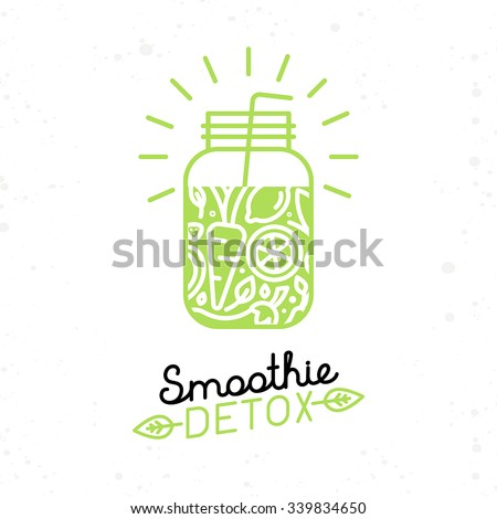 Vector smoothie detox poster in trendy linear flat style - glass with fruit juice for detox and healthy lifestyle - stock vector