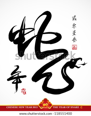 Vector Snake Calligraphy, Chinese New Year 2013 Translation: Year of Snake - stock vector