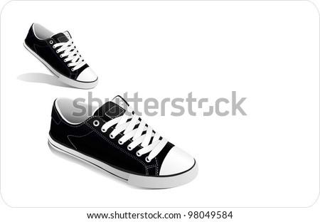 vector sneakers - stock vector