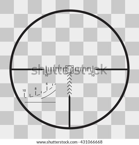 Vector sniper black finder target illustration bull eye on transparent background - stock vector
