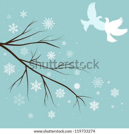 vector snow branches with birds - stock vector