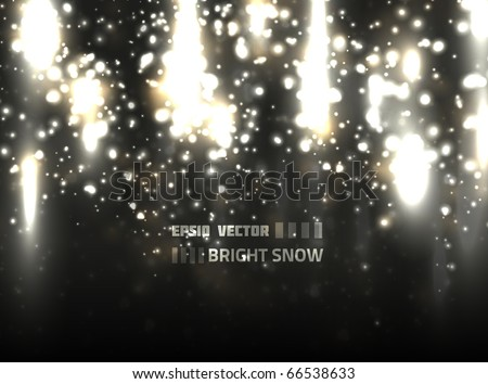 Vector snow design on black background. Bright Snowflakes flow from top part of the composition. - stock vector