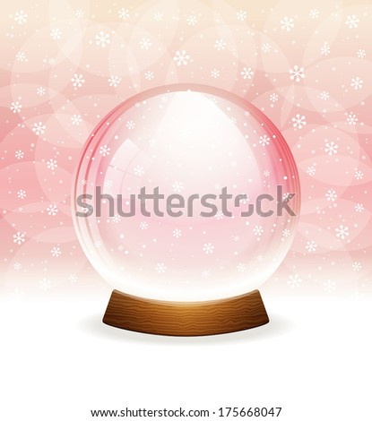 Vector snow globe. Layered