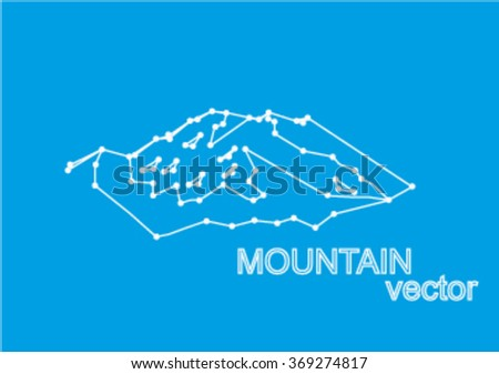 Vector snow mountains peak (Denali). Logo. Mount McKinley. Lines and points art. Blue background.
