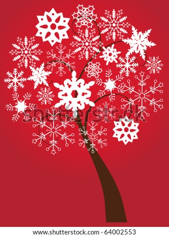 vector snow tree - stock vector