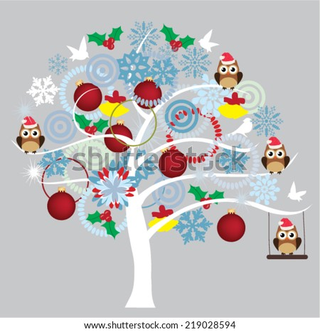 vector snow tree with balls, owls in Santa hat, snowflakes - stock vector