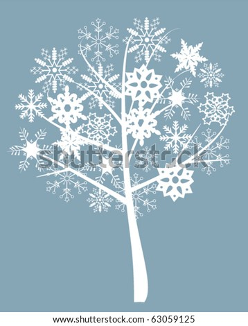 vector snow tree with snowflakes - stock vector