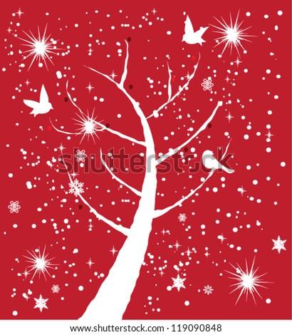 vector snow tree with white birds - stock vector