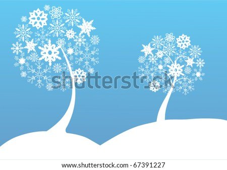 vector snow trees with snowflakes - stock vector